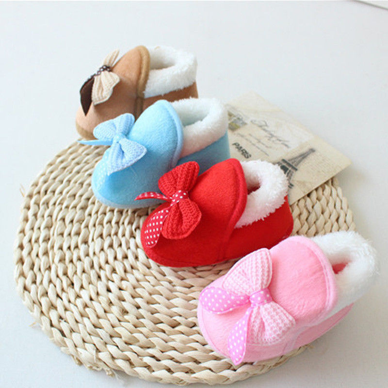2018 New Brand Bow Tie Cotton 1 Pair Cute Girl Newborn Warm Toddler Hot Soft Sole Boots Baby Shoes Infant Pop 0-18 M