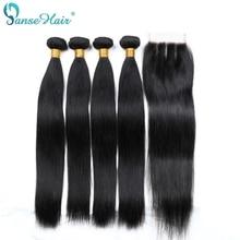 Panse Hair Brazilian Emberi Hajápoló termékek 4 db Per Lot Emberi Haj Szövés Zárás Testreszabott 8-28 cm Non Remy