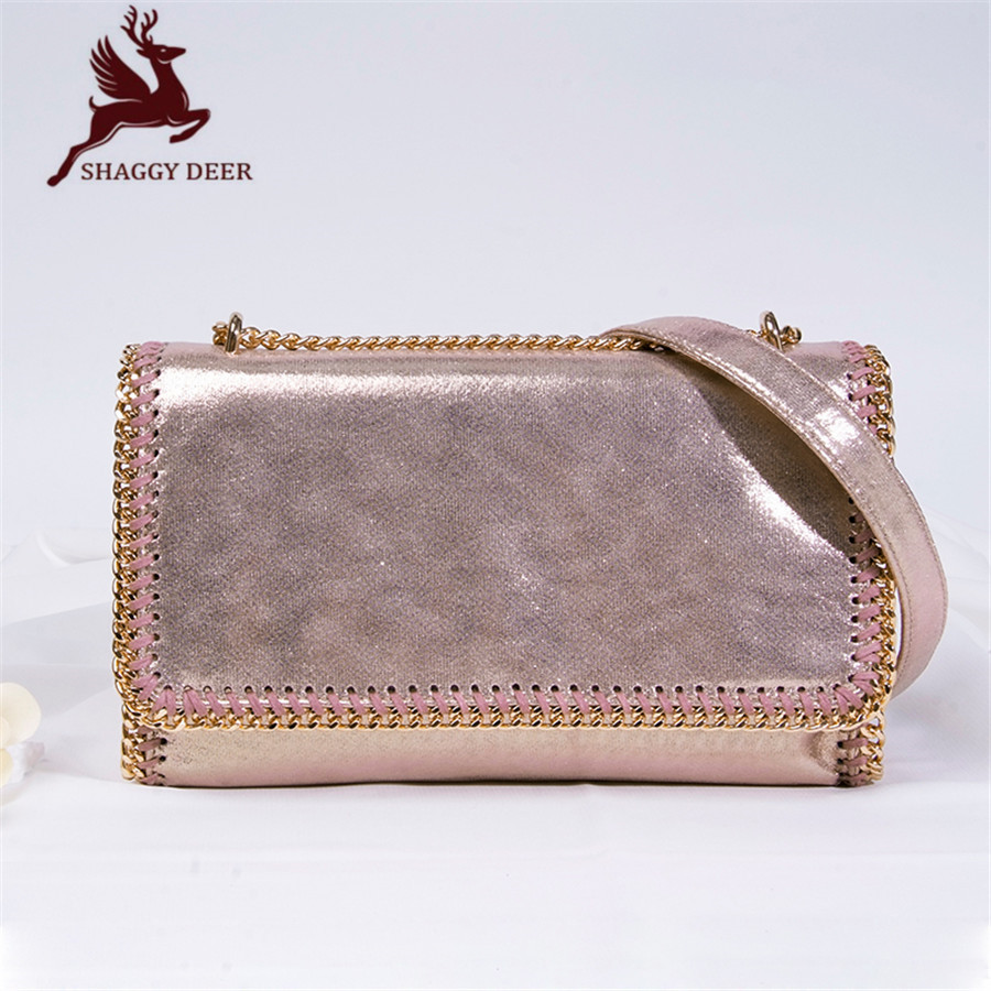 2017 Shaggy Deer Flap PVC Chain Shoulder Bag Luxury Hasp Ladies Pocket stella Chain Bag mini gray shaggy deer pvc quilted chain bag with cover real picture