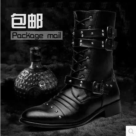 ФОТО Hot 2017 Higher in men's fashion leather pointed Martin boots pinch tall canister boots cowhide boots men's fashion / 38-44
