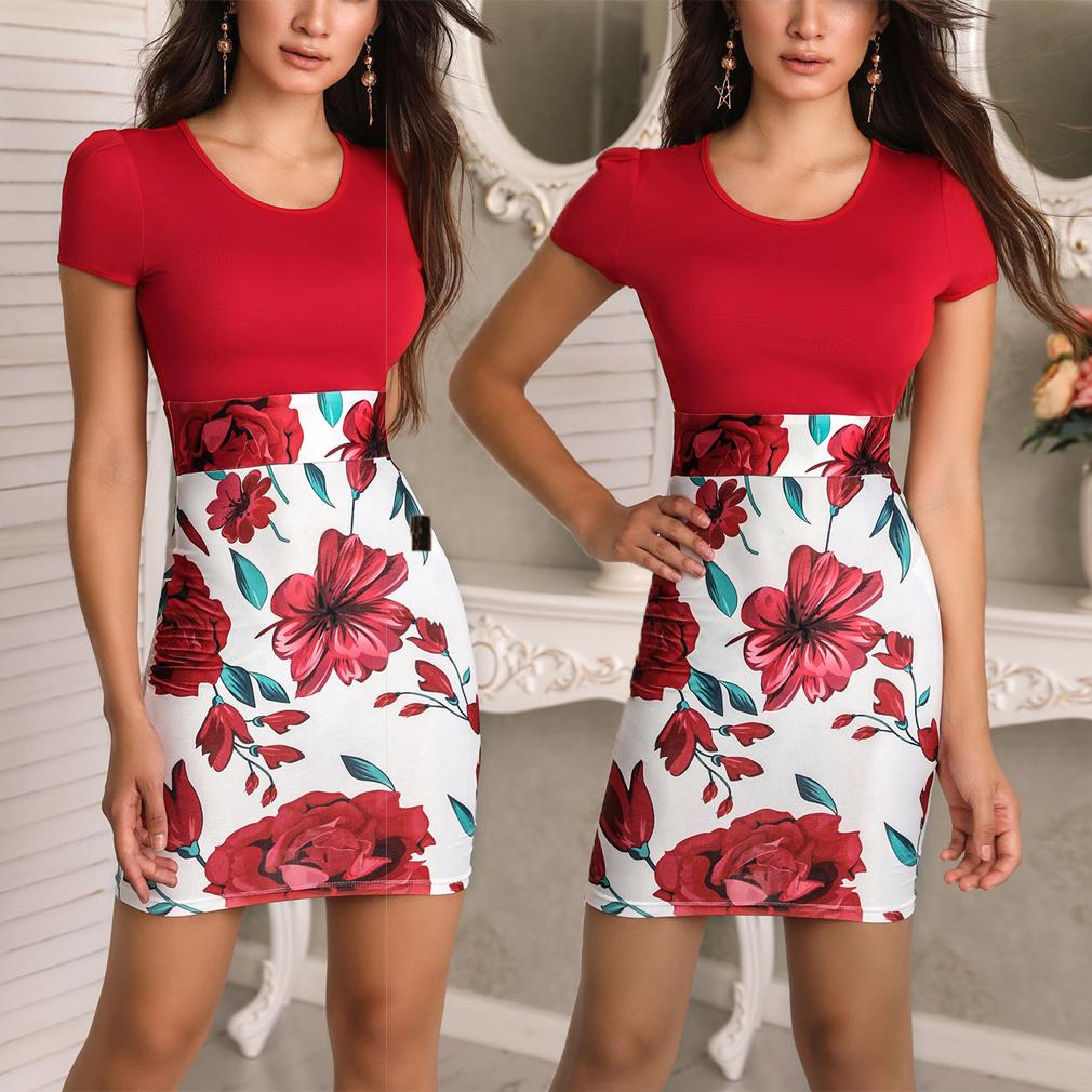 e3d5ee9eedab1 High Quality Women Vintage Summer Dress 2018 Short Sleeve Floral Print  Casual Dress Beach Dress Vestidos Mujer