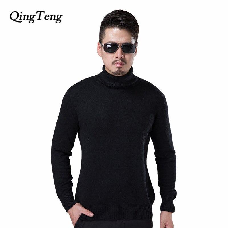 bb08be6b6689 € 19.48 35% de DESCUENTO|Pullover hombres Cashmere lana suéter hecho punto  cuello alto negro Jersey invierno caliente más tamaño Mens Jumper ...