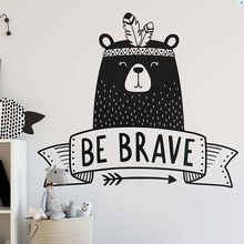 Kids Room Decor Be Brave Quote Wall Decal Tribal Style Sticker Nursery Cute Bear Vinyl Art Mural AY1219