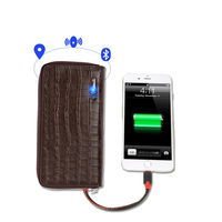 USB Charging Smart Wallet Crocodile Pattern Anti Lost Intelligent Bluetooth Purse Card Holder Clutch Suit For IOS, Android