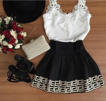 Summer The New Harness Sleeveless Retro V Collar Lace Black And White Women S Clothing Short Dress Mini 2xl