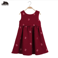 girls dresses Girl 2018 spring Autumn Little Cherry Embroidery Sleeveless Toddler Teenage Children's Clothing Kids Clothes