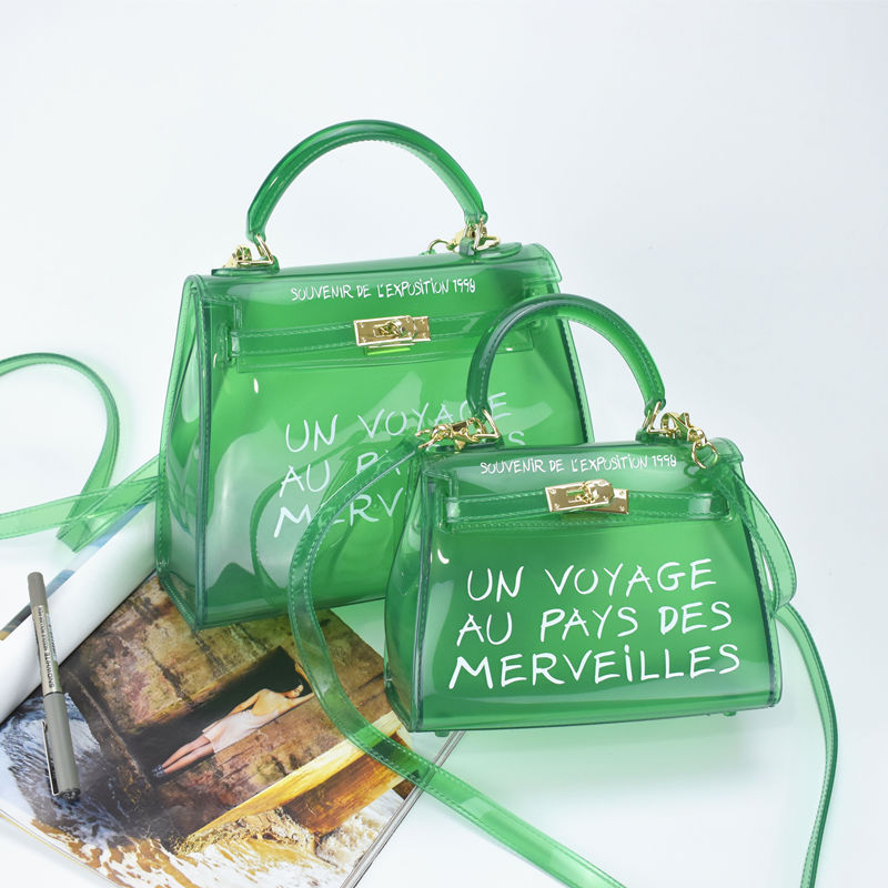 2017 beach transparent bag women big clear orange pvc Transparent Women Plastic Bag PVC Jelly Handbags Letter Printing Bag