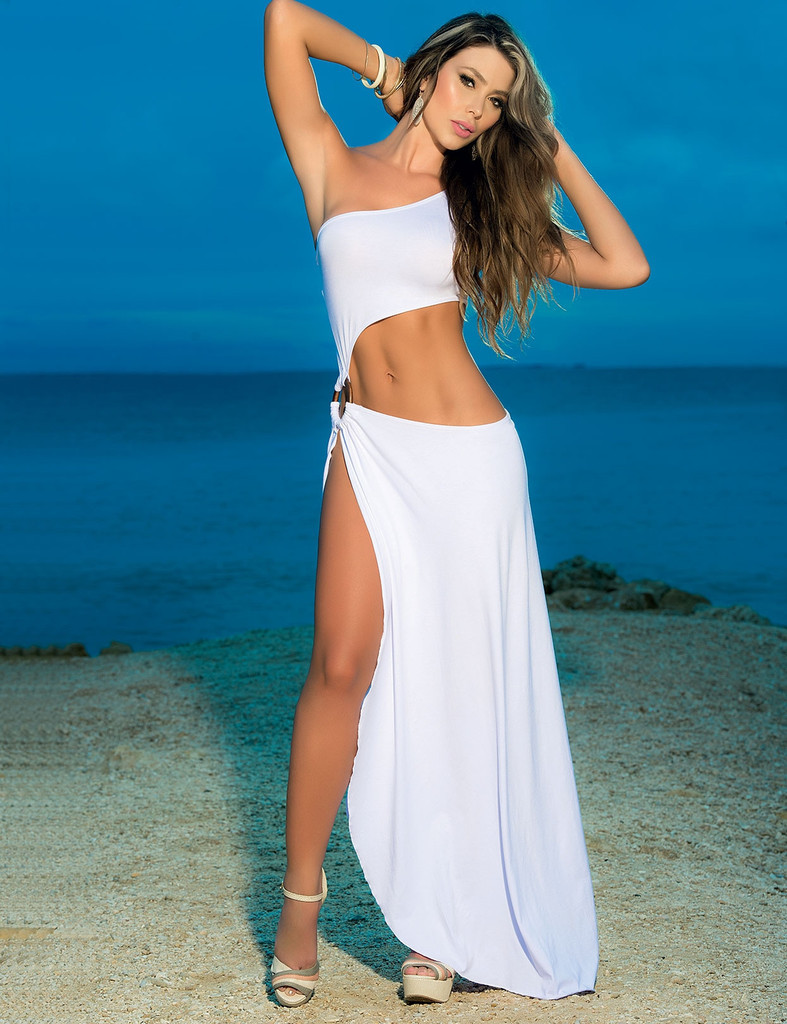 White Black Inclined One Shoulder Strapless Long Satin Party Night ...