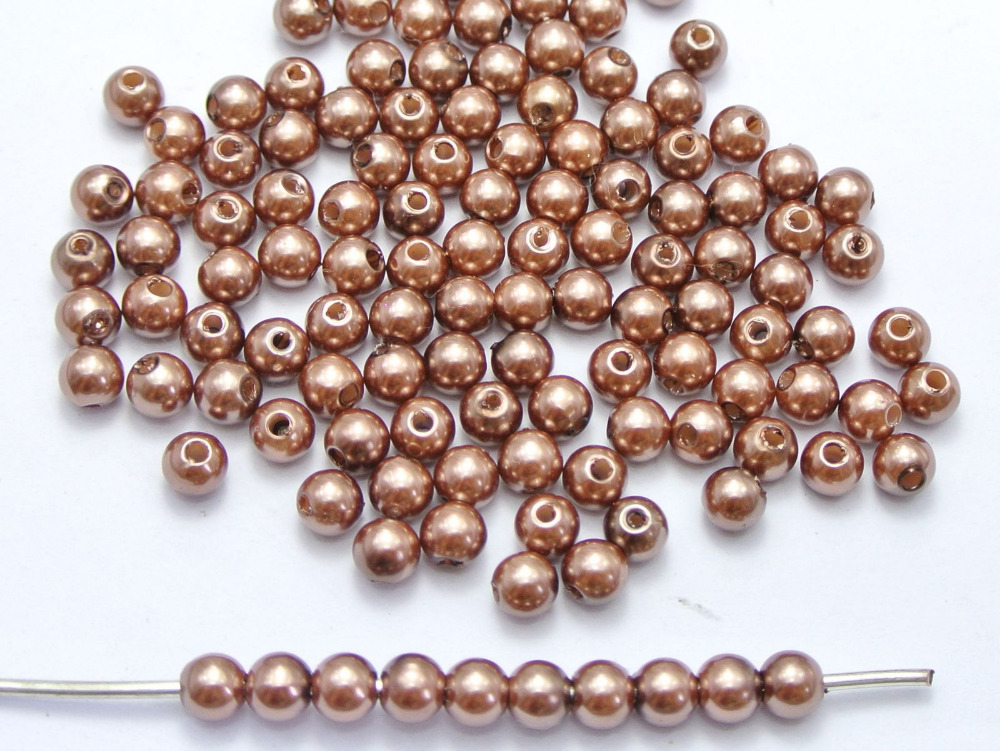 500 шт. 6 мм Пластик искусственный жемчуг круглый Бусины коричневый с искусственным жемчугом