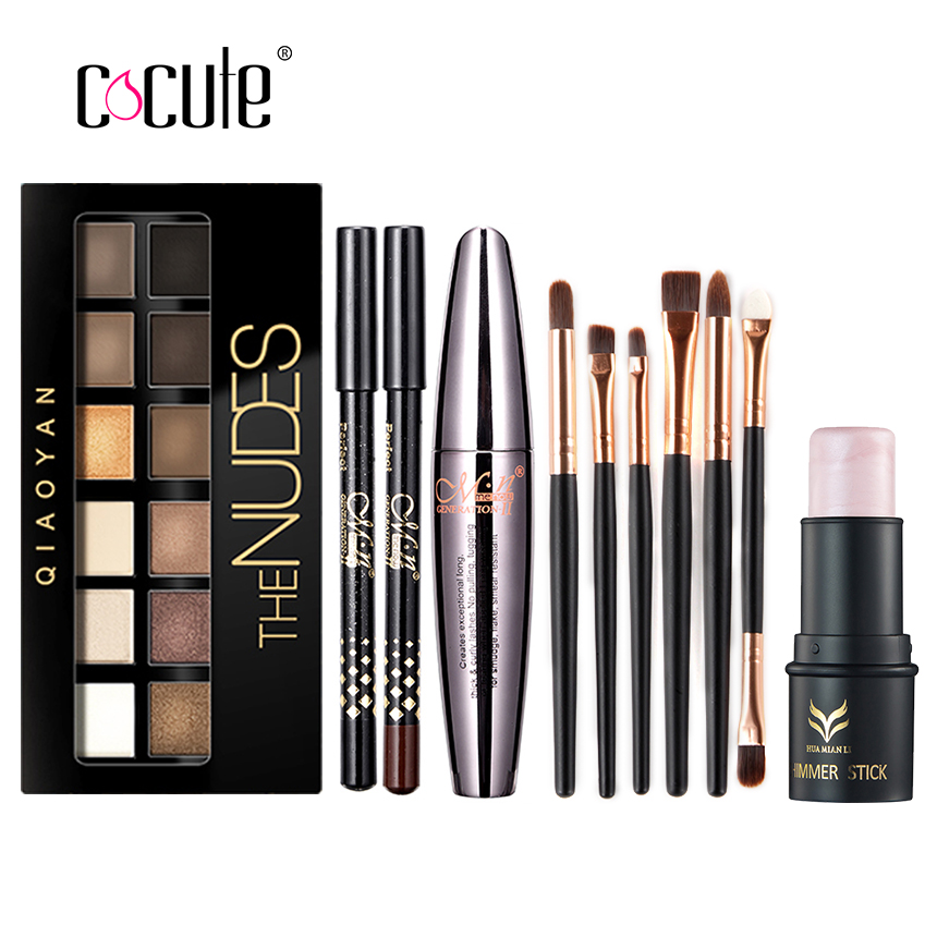 Cocute Makup Tool Kit 4 PCS Including Makeup Brushes Eyeshadow Eyebrow Pen Mascara and Highlighter Shimmer Stick for girl gift