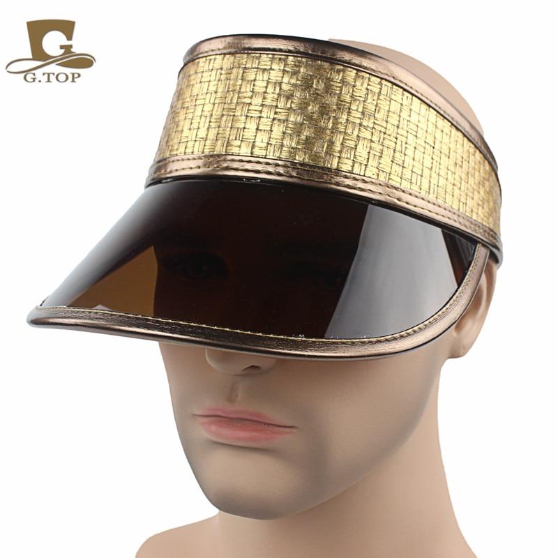 c06a9a5ff85 New brown sun visor cap plastic visor gold leather sun hat rave festival  fancy dress poker