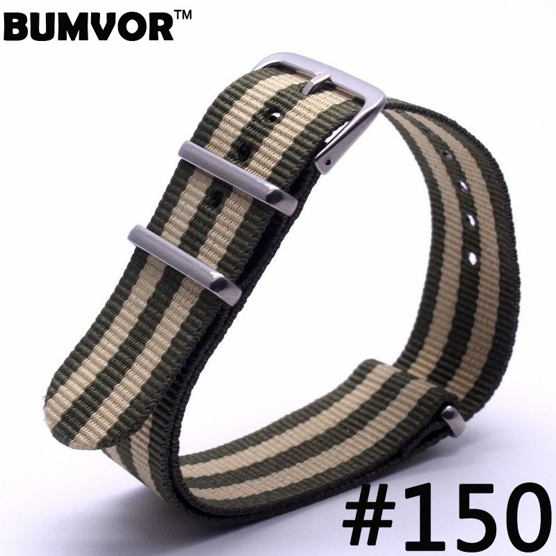 все цены на Stripes Popular Watch 20 mm Army Navy  Military nato fabric Woven Nylon watchband Strap Band Stainless steel buckle онлайн
