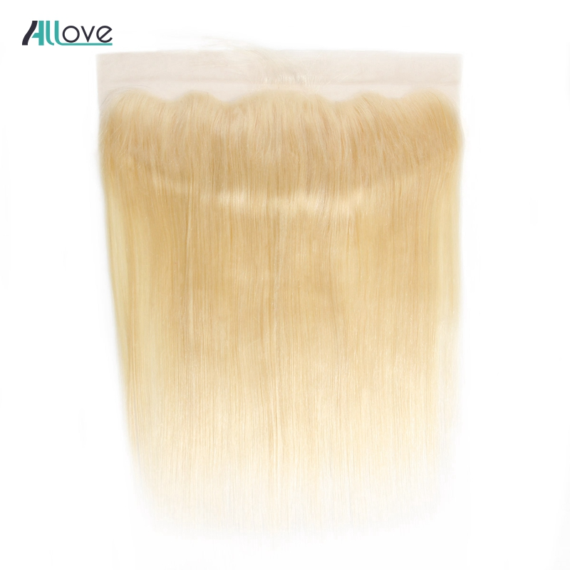 Allove Brazilian Straight Hair Closure 613 Color Blonde Frontal 13X4 Ear To Ear Lace Frontal Remy Human Hair Closure 1Pc image