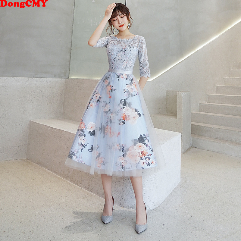 DongCMY New Flower Elegant Bridesmaid Dresses Short Lace Party Robe Soiree Half Sleeves Bride Dress