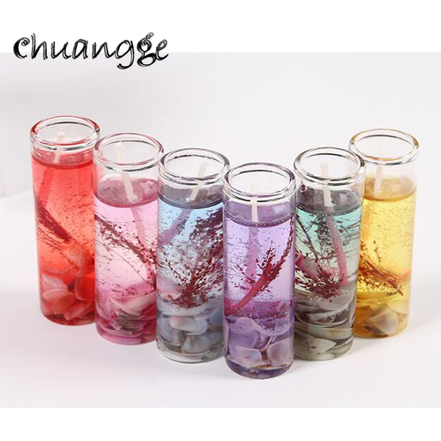 CHUANGGE 6/12pcs Marine Crystal Jelly Candles Gel Wax Candle Romantic  Celebrate Birthday Party Wedding