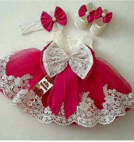 New Cute Baby Girls Birthday Dress Flower Girls Dresses for Wedding Girls Lace Dress with Bow Any Size