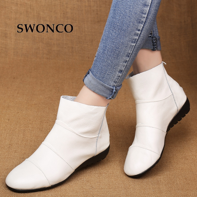 SWONCO Women's Ankle Boots Autumn Genuine Leather Ladies Shoes Winter Boots Women Plus Size Woman Shoes Rubber Sole Warm Boot huizumei new genuine leather women s boots autumn and winter shoes retro handmade round toe soft bottom rubber ankle ladies boot