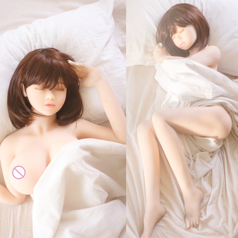 NEW 135cm Real Silicone <font><b>Sex</b></font> <font><b>Dolls</b></font> Japanese close <font><b>eyes</b></font> Adult Vagina Anus Oral Love <font><b>Doll</b></font> For Men Realistic Pussy Sexy Toy image