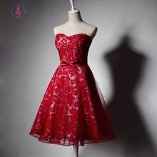 MQ001 Elegante Cocktailkleider Schatz Korsett Zurück Knielangen Roten Spitze Kurze Evevning Kleid