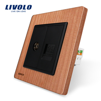 Manufacture Livolo Cherry Wood Panel 2 Gangs Wall Computer And TV Socket Outlet VL C791VC 21