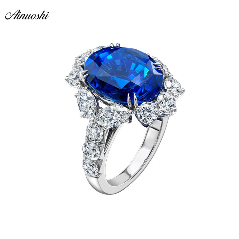 AINOUSHI 4 Carats 925 Sterling Silver Ring For Women Blue/white Sona Oval Cut Party Festival Wedding Engagement Jewelry