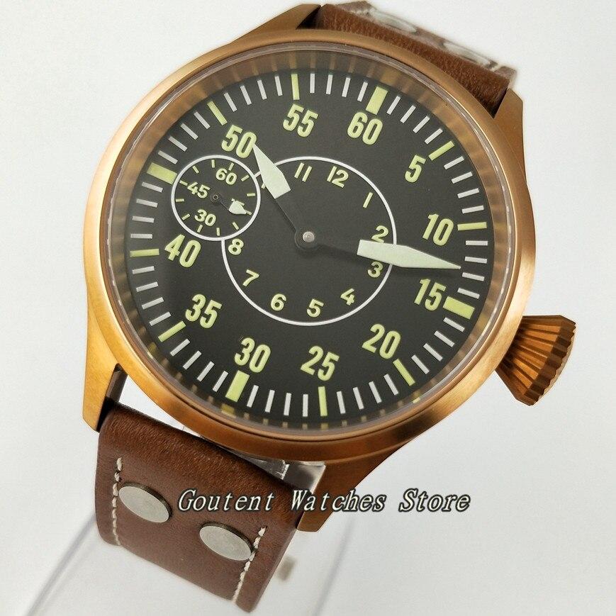 43mm Corgeut cadran noir boîtier en bronze saphir verre 6497 remontage à la main montre pour hommes-in Montres mécaniques from Montres    1