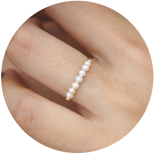 97c3d5ebdd06 Anillo de Perla de la manera de Las Mujeres Con 14 k de Oro Blanco Anillo  ...