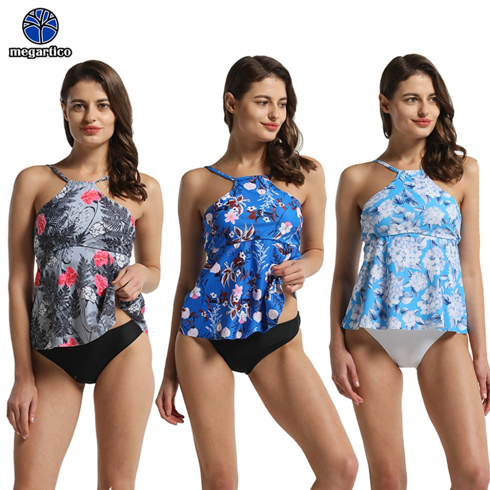 Megartico tankini swimsuit women maillot de bain femme 2019 2 pieces high quality tankini skirt floral swimming suit for women 1