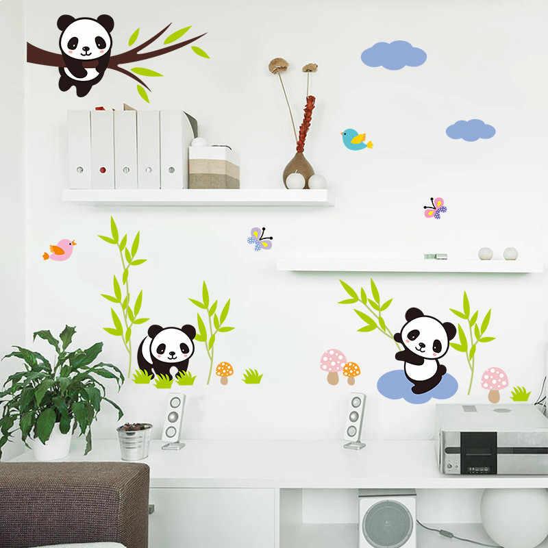 % Мультфильм лес панда бамбуковые Птицы Дерево бабочка настенные наклейки детская комната Детская комната Декор Животные наклейки настенное искусство