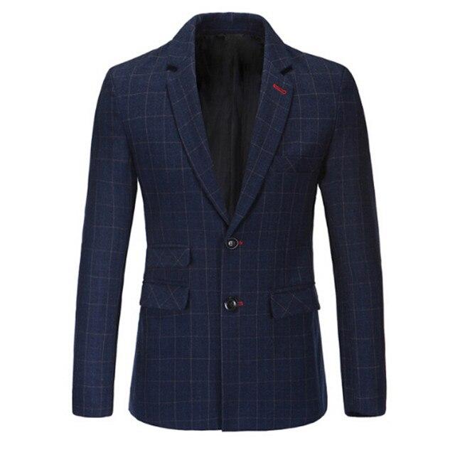 Nuevo Slim Fit Cotton jacket Casual Hombres Gris Para Hombre de la Chaqueta con Un Solo Botón Traje Chaqueta 2016 Otoño Abrigo Masculino Suite