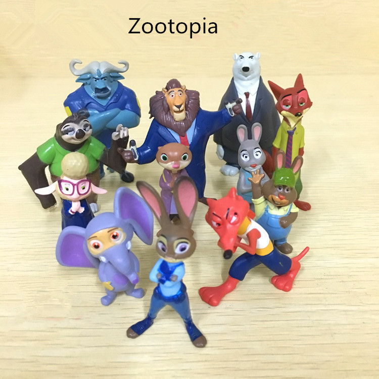 12pcs/set New Movie Zootopia Toys Rabbit Judy Hopps Fox Nick Wilde Model Toys Decoration Collection Kids Toys Gift 2016 zootopia figures keychain ring toys doll set 2016 new cartoon animal abbit judy hopps nick fox