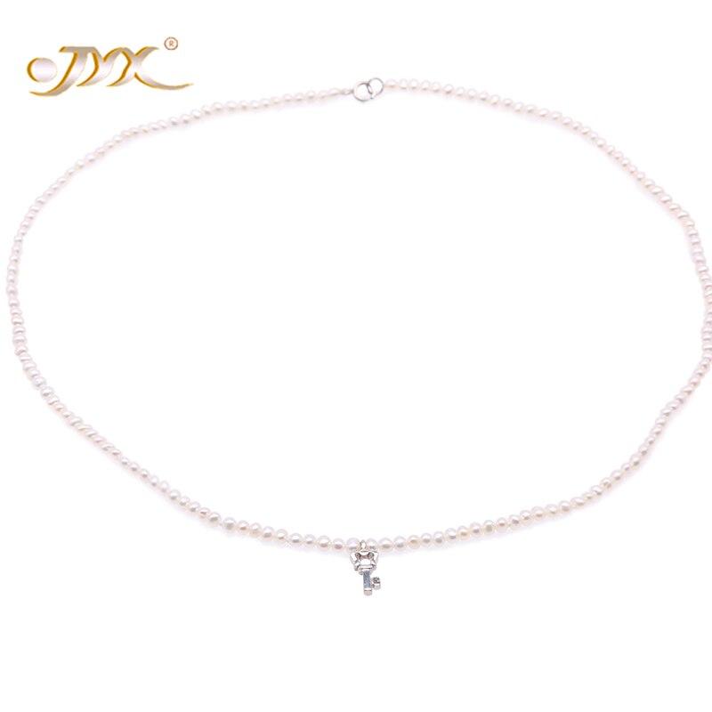 JYX Key-Shape Sterling Silver Pendant - 3mm White Pearls Freshwater Pearl Necklace Choker 16.5- FPN203JYX Key-Shape Sterling Silver Pendant - 3mm White Pearls Freshwater Pearl Necklace Choker 16.5- FPN203