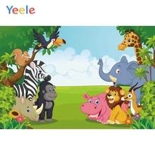 Yeele Animals Sky Grass Tree Scene Photography Children Birthday Background Cartoon Photographic Child Backdrop For Photo Studio