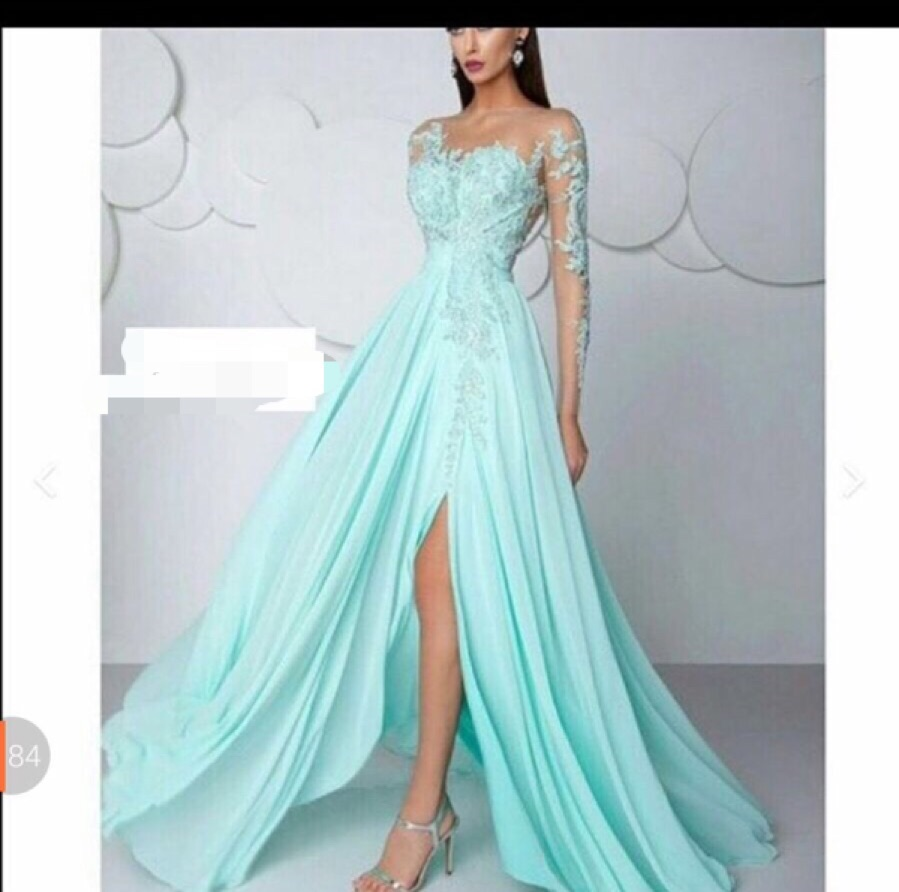 Light Blue lace appliques sexy illusion Long sleeve Formal Long Elegant Chiffon simple Party prom gown 2018   bridesmaid     dresses
