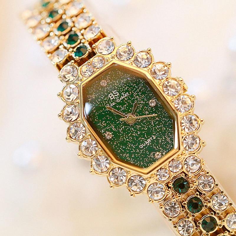 BS Brand Fashion Watches Women Ladies Diamonds Small Bracelet Watch Green Stone Gold Waterproof Montre
