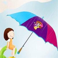 Brand Children Kids Long Ice Cream Handle Cute Cartoon 3D Pattern Rainy Sunny Safe Parasol Umbrella