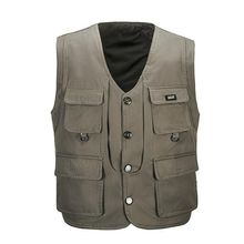 New Spring Mens Vest Multi Pocket button Photographer Waistcoat men Sleeveless Jacket For Male Big Size S-3XL