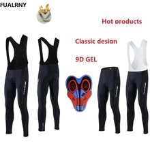 2018 Bicycle Long Bib Pants 9D Gel Pad Bike Tights Mtb Ropa Pantalon Thermal Fleece cycling pants Winter Men Padded Cycling недорого
