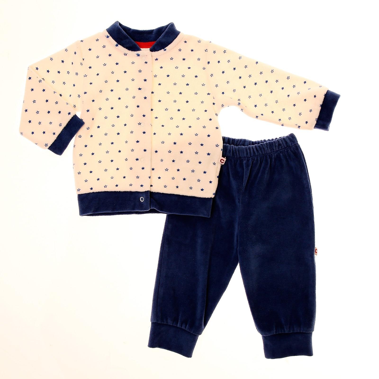 Ebebek Carmin Baby Boy Velvet Pyjama Set