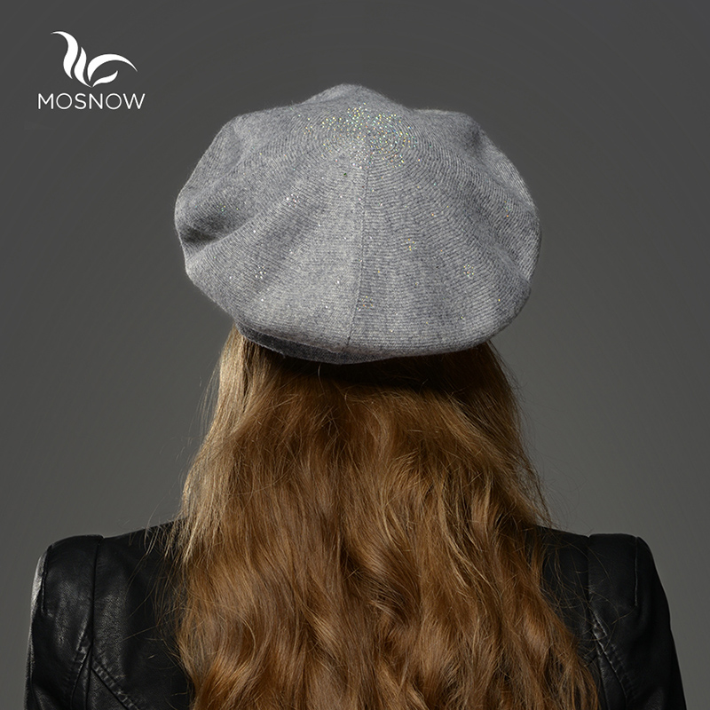 a4a073558 Wool Beret Girls Female Winter Hats For Women Flat Cap Knit 100% Cashmere  Beret Lady Warm Hat Female Bone With Rhinestone-in Skullies & Beanies from  Apparel ...