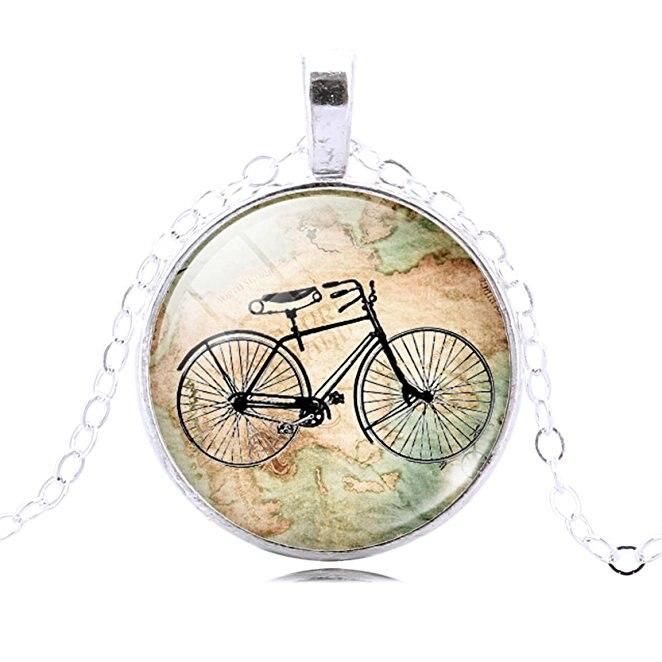 15cf83401b69 Argent et Bronze Vintage Vélo Carte Verre Cabochon Pendentif Collier  Déclaration Chaîne Collier pour les Femmes