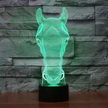 zebra head Led light Holiday Atmosphere Decorative Car Toy Lighting Gadget LED Night Light 3D Illusion Lamp Light Horse Face