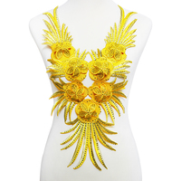 2piece 3D Yellow Beaded Crystal Lace Neck Tassel Collar Patches Applique Cord Trim Decorated Clothes Sewing Accessories T2013