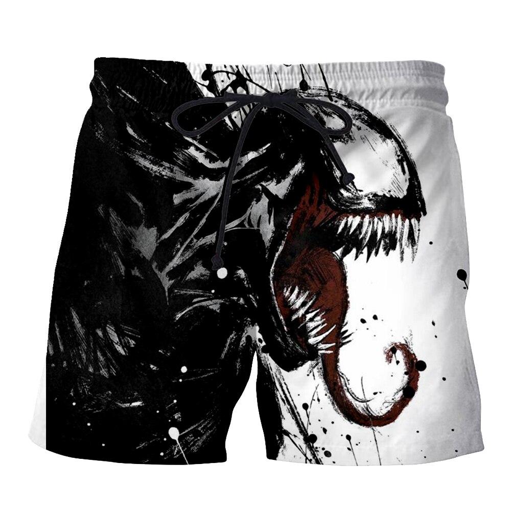 PLstar Cosmos NEW Movie Spiderman Venom Villain Skull Men's Summer Casual Shorts 3D Print Loose Beach Shorts  Drop Shipping-3