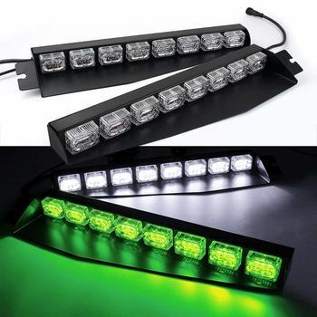 48LED Light bar Visor Light Windshield Emergency Hazard Warning Strobe Beacon Deck Dash Lamp Green and White