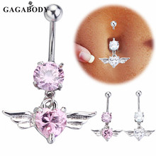 Christmas Gift Newest Silver Gold Navel Belly Button Ring Rhinestone Bar Heart Angel Belly Piercing Body Jewelry 2016