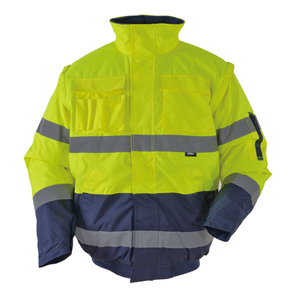Image 2 - Mens Winter Hi Vis Safety Jacket Waterproof Jacket With Removable Sleeves Reflective Workwear