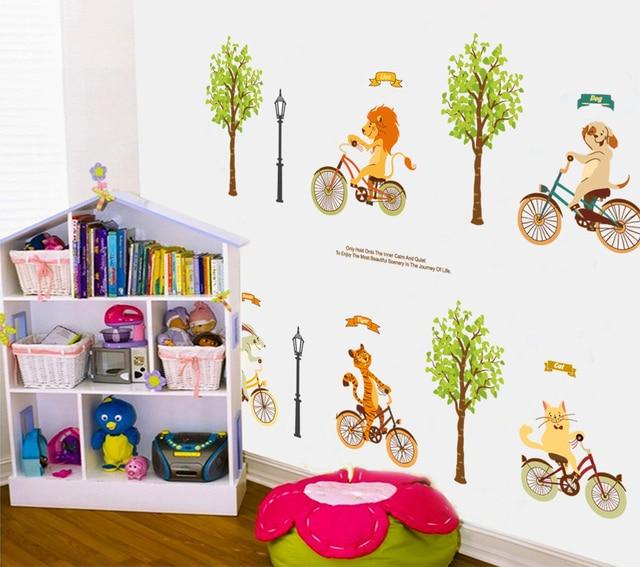 divertido animales de dibujos animados beb vivero decoracin de la pared pegatinas tigre len conejo gato