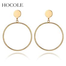 HOCOLE Simple Round Circle Drop Earrings Gold Silver Color Hollow Geometric Dangle Pendiente For Women Statement Jewelry Brincos
