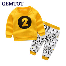 GEMTOT 2017 Spring autumn baby children's clothing sets Cotton Long Sleeve T-Shirt + Pants 2 pieces sets for 0-5Yrs kids